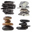 Stack tower of black coal , marble, cobble rock, isolated on white background — Stock Photo #21188879