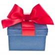 Present box with red ribbon bow isolated on white — Stock Photo #21188997