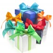 Many colorful gift boxes with bows isolated — Lizenzfreies Foto
