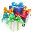 Many colorful gift boxes with bows isolated — Stock Photo