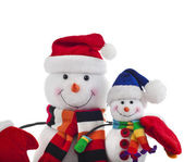 Christmas snowman with scarf and santa claus hat , isolated on white background — Stock Photo