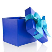 Single gift wrapped present box with blue -aqua satin bow isolated on white — Stock Photo