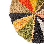 Rayonner, rayons de différents grains, légumineuses, lentilles, pois — Photo