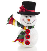 Cheerful Christmas snow man isolated on white background — Stock Photo