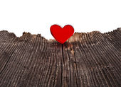 Love heart on Wood texture background, valentines day card concept — Stock Photo