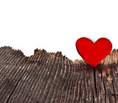 Love heart on breaking wood texture background, valentines day card concept — Stock Photo