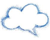 Boş mavi bulut konuşma balonu, beyaz zemin üzerine izole hava renk kalem çizim — Stok fotoğraf
