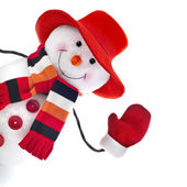 Happy snowman with red hat isolated on white background — Stock Photo