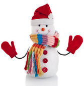Christmas snowman with wool scarf and santa claus hat , isolated on white background — Stock Photo