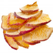 Sliced Dried Apple fruit isolated on white - Stock Photo