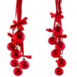 Christmas red balls hanging with ribbon bows isolated on white background — Stock Photo