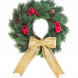 Christmas wreath with golden ribbon bow isolated on white background — Stock Photo