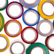 Stock Photo: Background texture of colored circles roll of adhesive tape isolated on white background