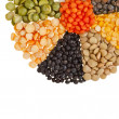 Radiate, rays of different beans, legumes, peas, lentils - Stock Photo