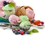 Mixed ice cream with fresh berries on white — Stock Photo