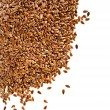 Border of brown flax seed linseed closeup isolated on white background - Stock Photo