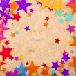 Colorful stars on old retro paper background — Stock Photo