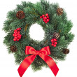 Christmas decoration wreath with red holly berries isolated on white background — Stock Photo #21191273