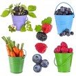 Fresh tasty fruits, vegetables, berries in colored bucket ,collection set isolated on a white background - Stock Photo