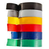 Multicolored insulating tapes roll isolated on white background — Stock Photo
