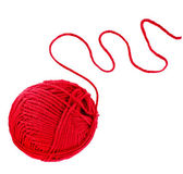 Red yarn thread isolated on white background — Stock Photo