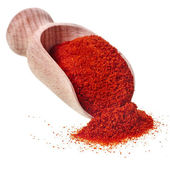Powder paprika with wooden spoon scoop isolated on white background — Stok fotoğraf