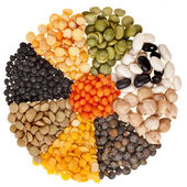 Radiate, rays of different beans, legumes, peas, lentils — Stockfoto