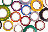 Textura de fundo de círculos coloridos rolo de fita adesiva, isolada no fundo branco — Foto Stock