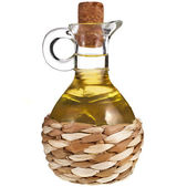 Decanter with oil isolated on white background — Stock Photo