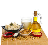 Soy products : oil, milk, tofu, meat, sauce, isolated on white — Stock Photo