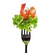 Shrimp on fork isolated on white — Stock Photo