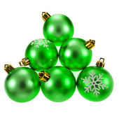 Green christmas bauble balls isolated on a white background — Stock Photo