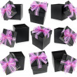 Collection present boxes with ribbon bows isolated on white — Photo