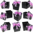 Collection present boxes with ribbon bows isolated on white - Lizenzfreies Foto