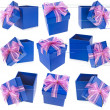 Collection present boxes with ribbon bows isolated on white — Stok fotoğraf