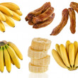 Bananas fruit food, collection set isolated on a white background — Stock Photo