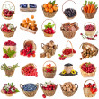 Fresh tasty healthy fruits, vegetables, berries, nuts in a wicker basket ,collection set isolated on a white background — Stock Photo #21251249