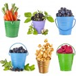 Fresh tasty fruits, vegetables, berries in colored bucket ,collection set isolated on a white background — Stock Photo