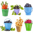 Fresh tasty fruits, vegetables, berries in colored bucket ,collection set isolated on a white background — Stock Photo #21354475