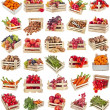 Fresh tasty healthy fruits, vegetables, berries, nuts in wooden box , collection set , isolate on a white background — Stock Photo