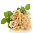 Постер, плакат: Wedding bouquet of cream roses isolated on white