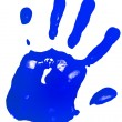 Blue color hand print isolated on a white paper background - Stock Photo