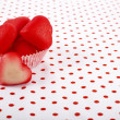 Valentine's day fabric sack texture background - Stok fotoğraf