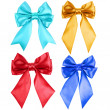 Collection set of beautiful colorful ribbon bows - Stock Photo