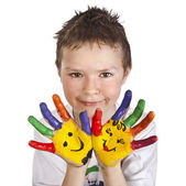 Hands Painted Children — Stock Photo