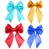 Collection set of beautiful colorful ribbon bows — Stock Photo