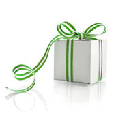 Gift Box Wrapped Ribbon Tape — Stock Photo