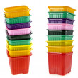 Tower stack of colorful plastic pot for seedling — Stock Photo #26457619