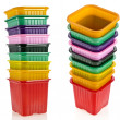 Tower stack of colorful plastic pot for seedling — Stock Photo #26457663