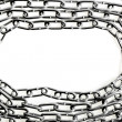 Border frame of metal chains isolation on white background — Stock Photo